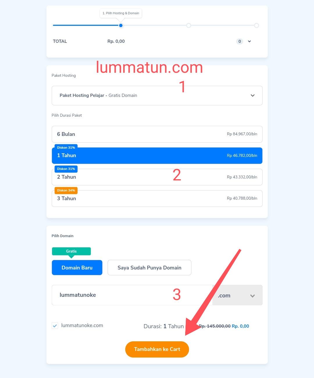Memilih durasi paket hosting dan domain