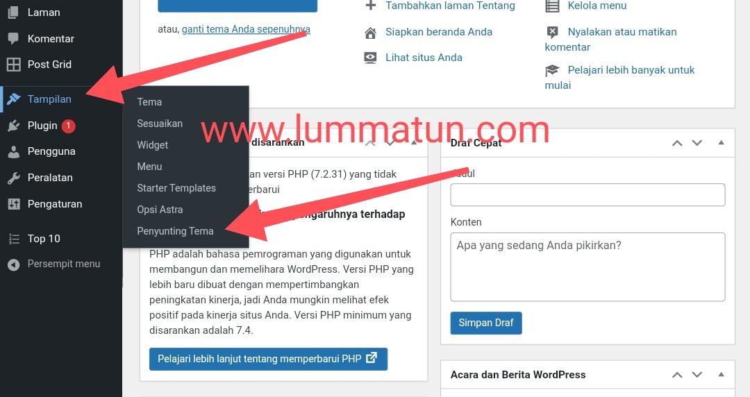 Edit tampilan website