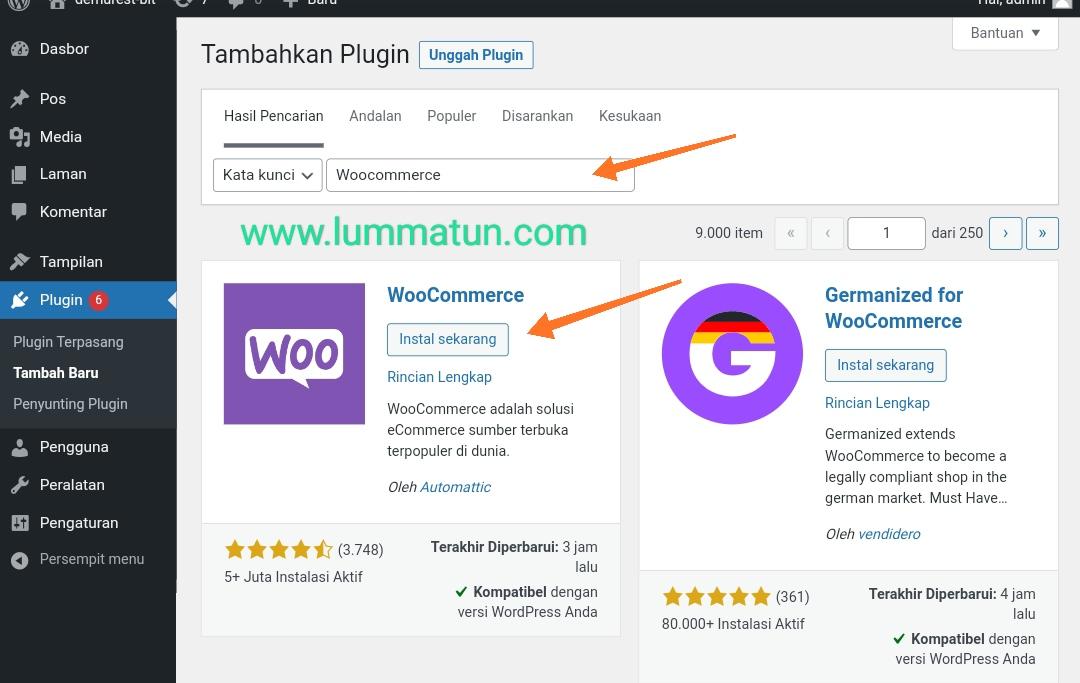 Instal Plugin WooCommerce